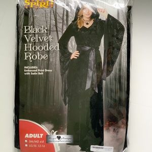 Black Velvet Hooded Robe Costume